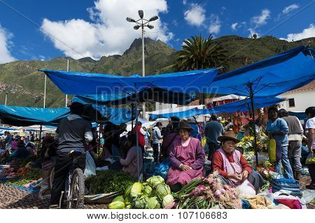 Locals in a market in the city of Pisac in the Sacred Valley.