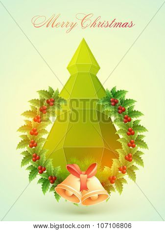 Flyer, Banner or Pamphlet with creative Xmas Tree, Mistletoe and Jingle Bells on glossy green background for Merry Christmas celebration.