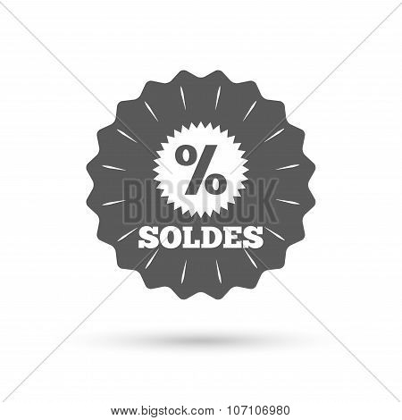 Soldes - Sale in French sign icon. Star.