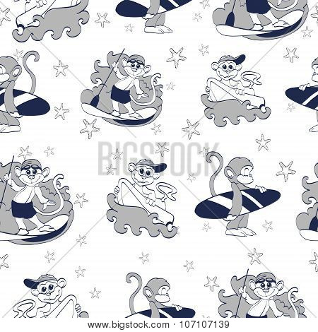 Vector Cool Gray Surfning Monkeys Seamless Pattern. SUP board. Boogie Board