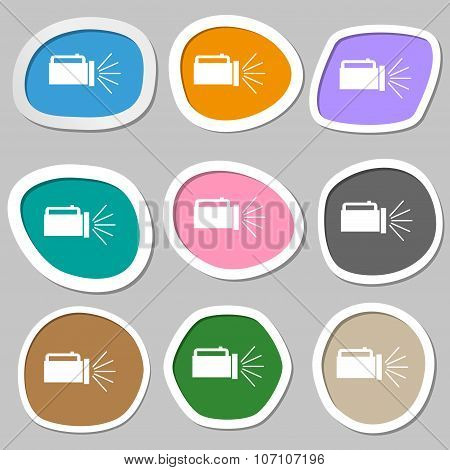 Flashlight Icon Sign. Multicolored Paper Stickers. Vector