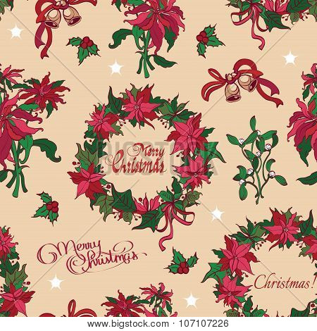 Vector Vintage Christmas Flowers Bells Seamless Pattern. Vibrant Red