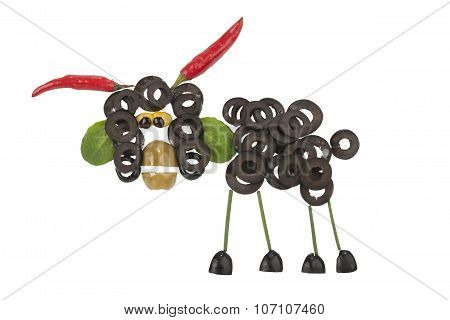 Funny Ram Made Of Olives And Pepper
