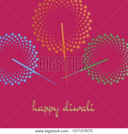 'Happy Diwali'. Diwali greeting card template with sparklers graphic and message in english.