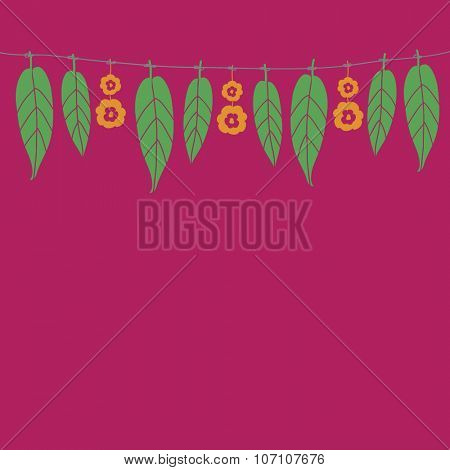 Vector graphic of festive buntings made with mango leaves and marigold flower for an auspicious event.