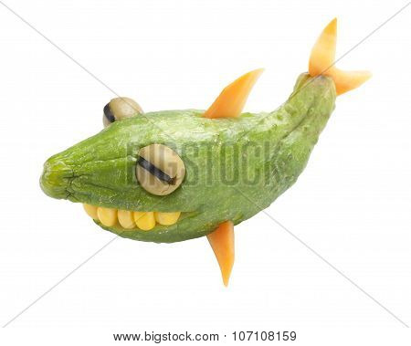 Funny Shark Made Of Cucumber