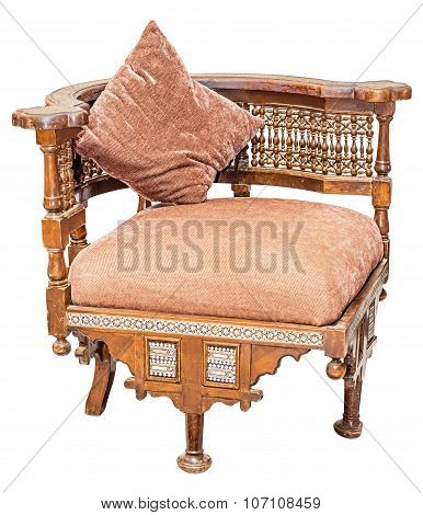 Old Vintage Antique Wooden Seat Isolated