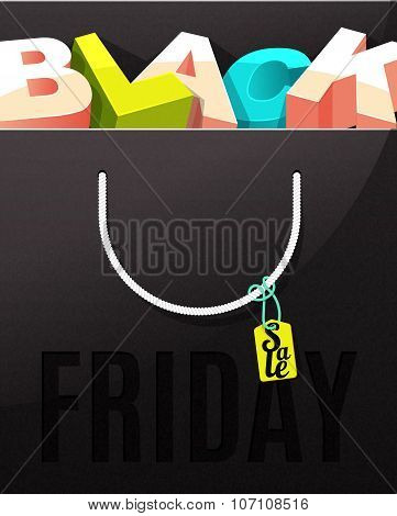 Black Friday sale design. Letters in the package