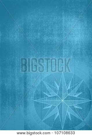 Grunge Background With A Wind Rose..