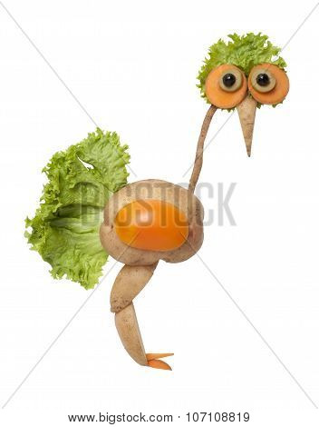 Ostrich Made Of Vegetables