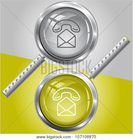 open mail with handset. Raster magnifying glass.