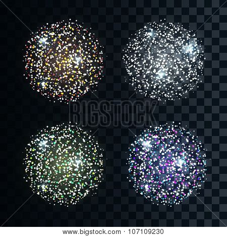 Set 4 different colors of fireworks. Realistic salute