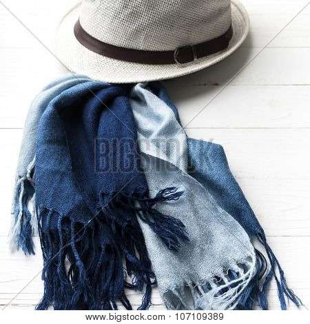Hat And Blue Scarf