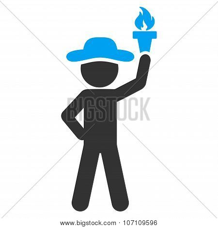 Male With Freedom Torch Icon