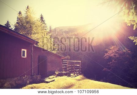 Retro Vintage Stylized Mountain Shelter With Flare Effect.