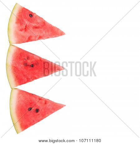 Three slices of watermelon, top view, isolated on white, with copy space