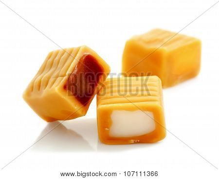 toffee caramel candy isolated on white background