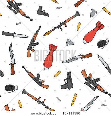 Seamless pattern with different weapon scattered by doodle. Handmade bombs