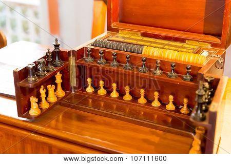 Vintage wooden chess set closeup