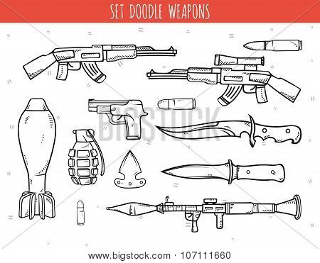 Big doodle set of weapon, shells, handwork bombs.