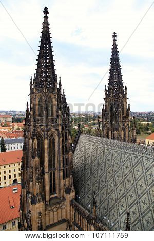 The Spire Of Stone Towers Of St. Vitus Cathedral , Prague, Czech Republic