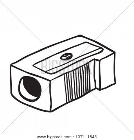 simple black and white pencil sharpener cartoon