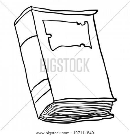 simple black and white old book cartoon
