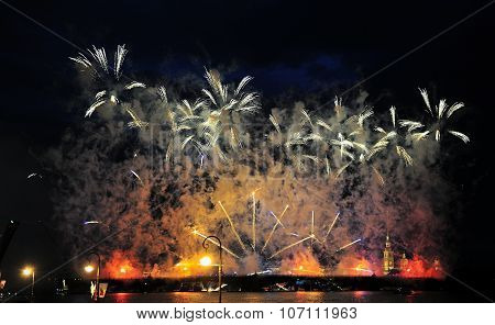 Fireworks Over The City Of St. Petersburg  On The Feast Of