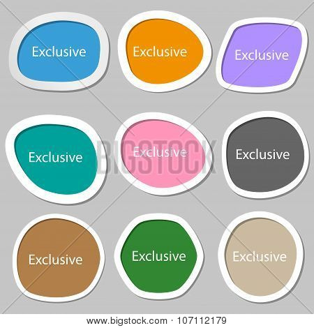 Exclusive Sign Icon. Special Offer Symbol. Multicolored Paper Stickers. Vector