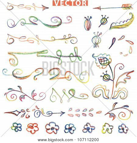 Doodle floral decor set.Colored watercolor,crayon sketched