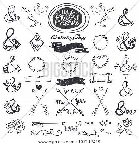 Hand drawing lettering ampersands set. Wedding Decor