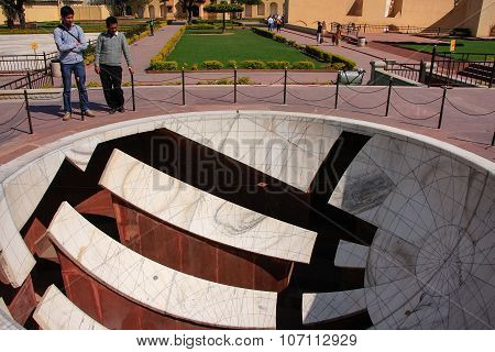 Jaipur, India - March 2: Unidentified Men Stand Near Sundial Of Jantar Mantar On March 2, 2011 In Ja