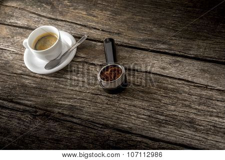 Cup Of Fresh Hot Arabica Black Coffee And Freshly Ground Coffee Beans