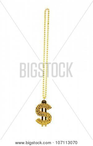 A gold plastic Money Sign necklace isolated on white with room for your text