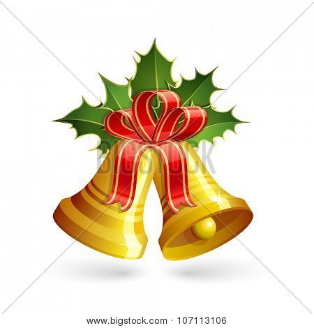 Christmas golden bells with holly and red bow. Vector illustration