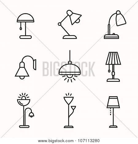 Light fixture linear icon set. Lamps and lighting devices. Simple outlined icons. Linear style