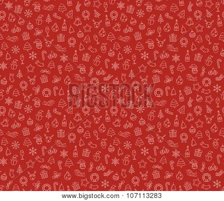 Merry Christmas and Happy New Year vector seamless pattern. Christmas wreath with small Christmas symbols. Vector seamless Illustration