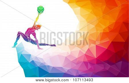 Creative silhouette of gymnastic girl. Art gymnastics with ball, vector illustration or banner templ