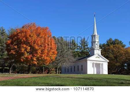 White New England Chapel in Fall