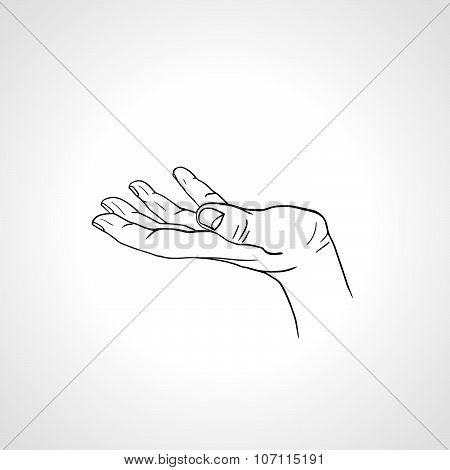 Open Empty Line Art Drawing Hand Side View Poster Id 107115191