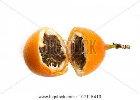 Sweet granadilla fruit on a white background