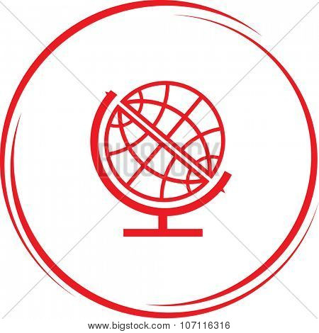 Globe internet button. Vector icon.