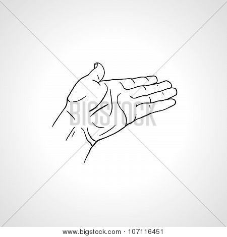 Open Empty Line Art Drawing Hand Side View Poster Id 107116451