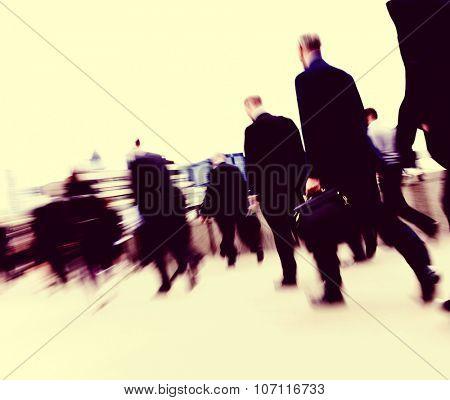 Business People Commuter Cityscape Rush Hour Concept