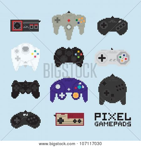 Pixel art isolated vector gampads
