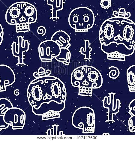 Sugar skulls seamless vector pattern