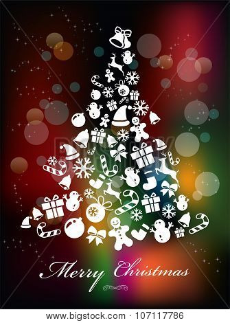 Stylized Colorful Background with Christmas Elements