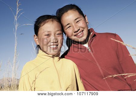 Portrait Mongolian Two Sisters Beautiful Smiling Concept
