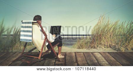Businessman Working Summer Beach Relaxation Concept