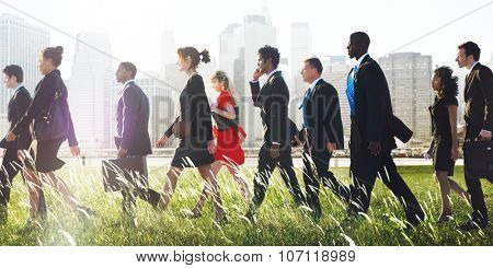 Business People Commuter Walking Travel Corporate Concept